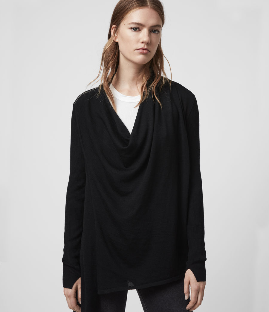 Women's Drina Ribbed Cardigan (black) - Image 4