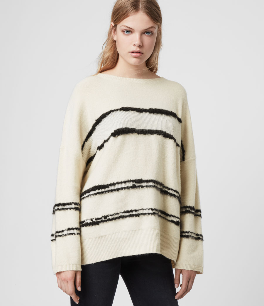 Women's Tara Cashmere Blend Stripe Jumper (cream_black) - Image 1