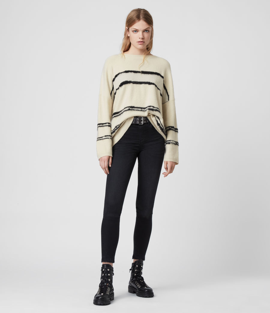 Women's Tara Cashmere Blend Stripe Jumper (cream_black) - Image 2