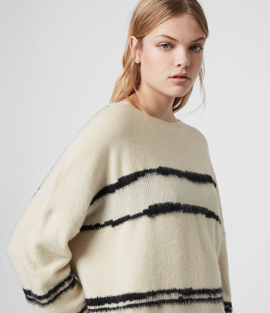 Women's Tara Cashmere Blend Stripe Jumper (cream_black) - Image 3