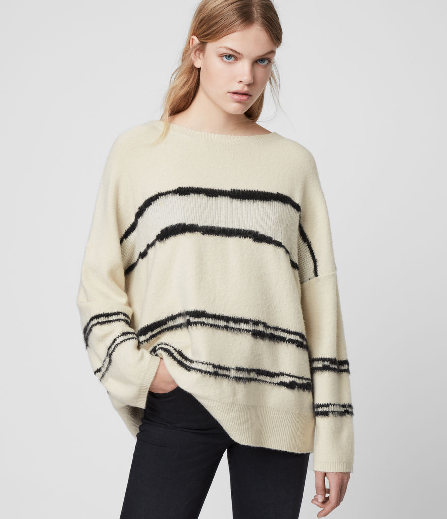 Women's Tara Cashmere Blend Stripe Jumper (cream_black) - Image 4