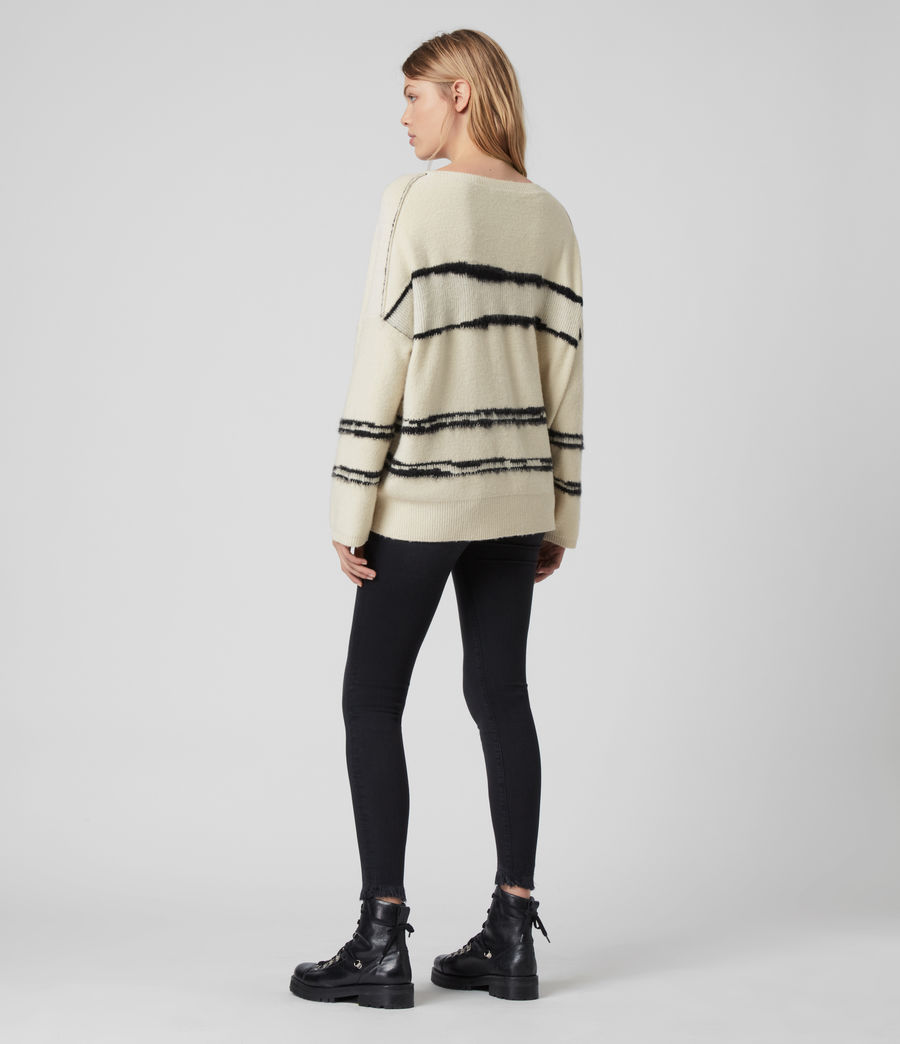 Women's Tara Cashmere Blend Stripe Jumper (cream_black) - Image 5