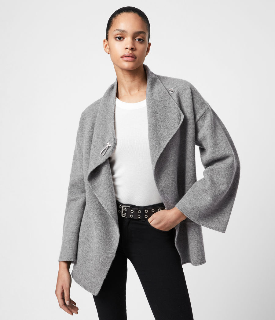 Women's Nola Merino Wool Cardigan (grey_marl) - Image 1
