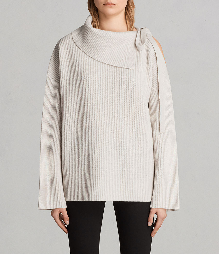 Womens Sura Tie Neck Sweater (wild_oat) - Image 1