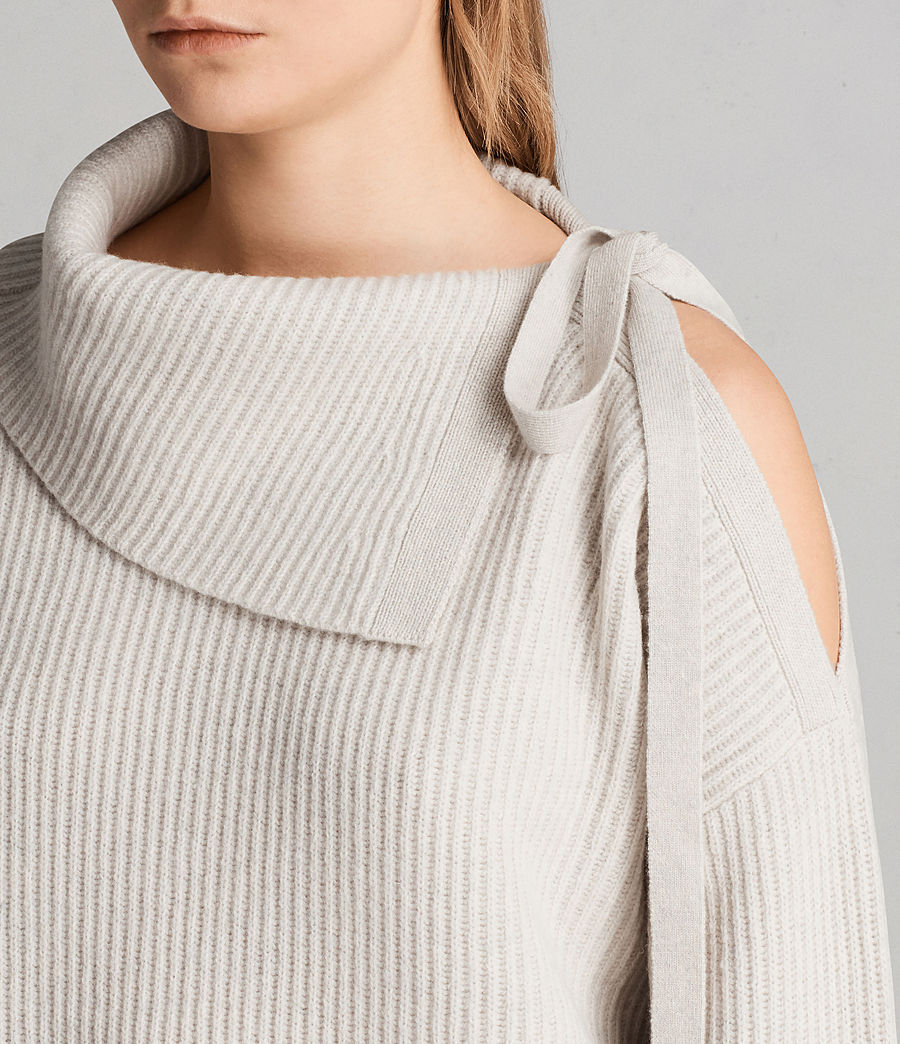 Womens Sura Tie Neck Sweater (wild_oat) - Image 2