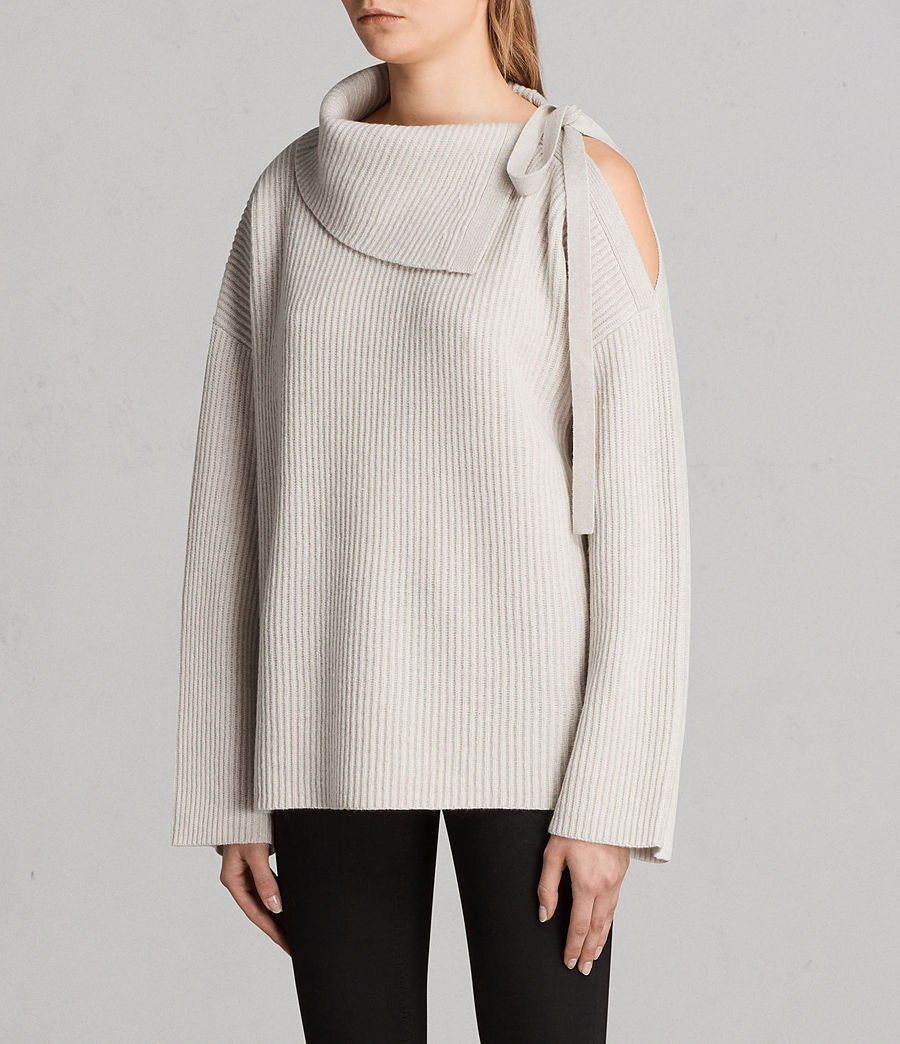 Womens Sura Tie Neck Sweater (wild_oat) - Image 3