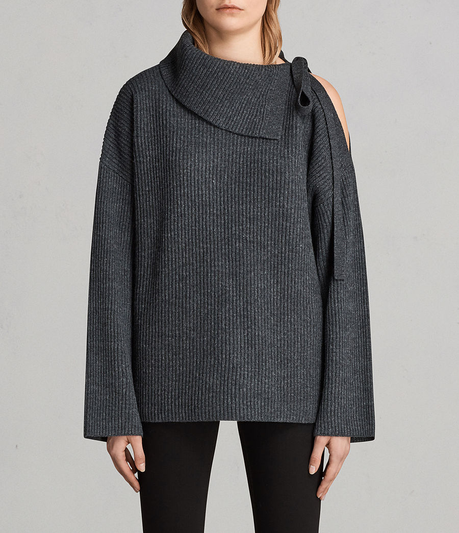 Women's Sura Tie Neck Jumper (charcoal_grey) - Image 1
