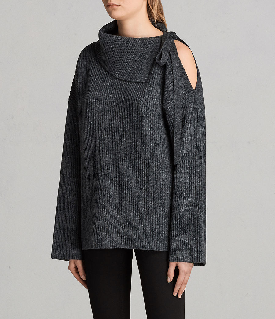 Women's Sura Tie Neck Jumper (charcoal_grey) - Image 3