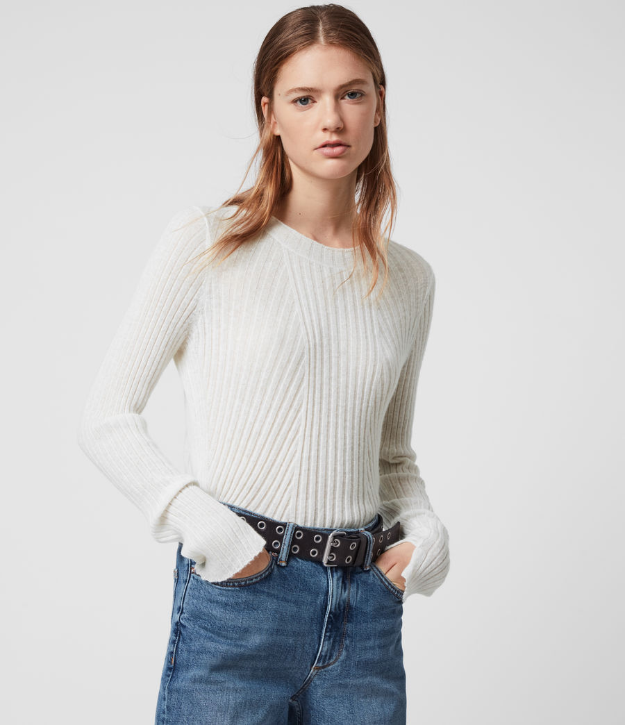 Womens Addie Crew Sweater (chalk_white) - Image 1