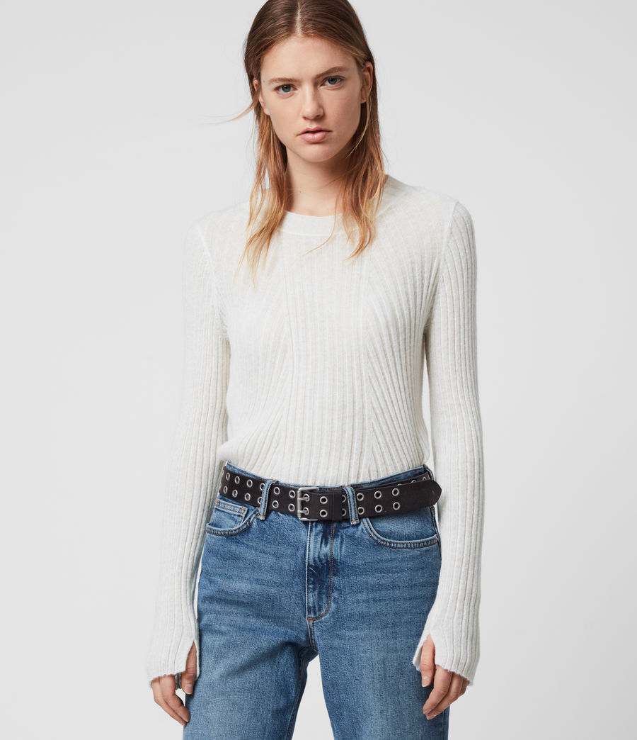 Womens Addie Crew Sweater (chalk_white) - Image 4