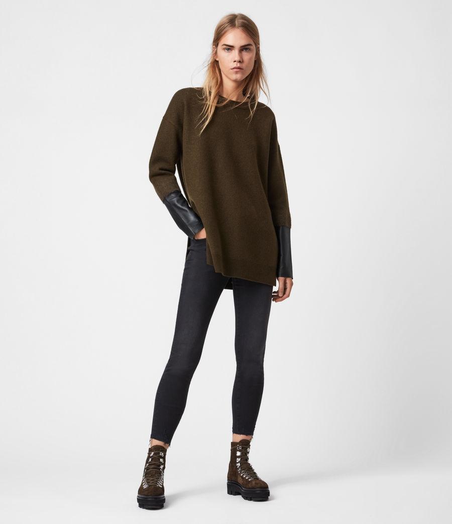 Womens Essy Merino Wool Sweater (khaki_green_black) - Image 1