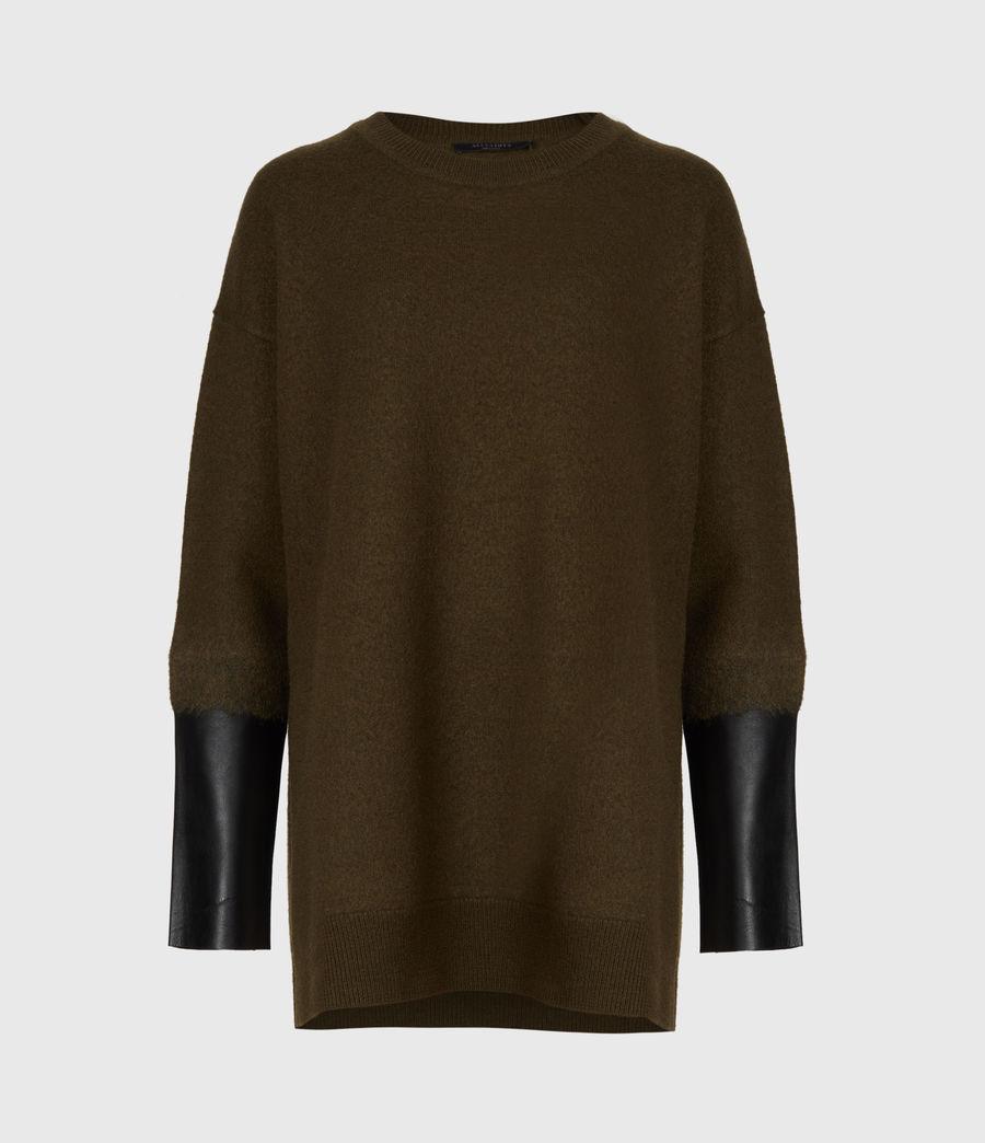 Womens Essy Merino Wool Sweater (khaki_green_black) - Image 2