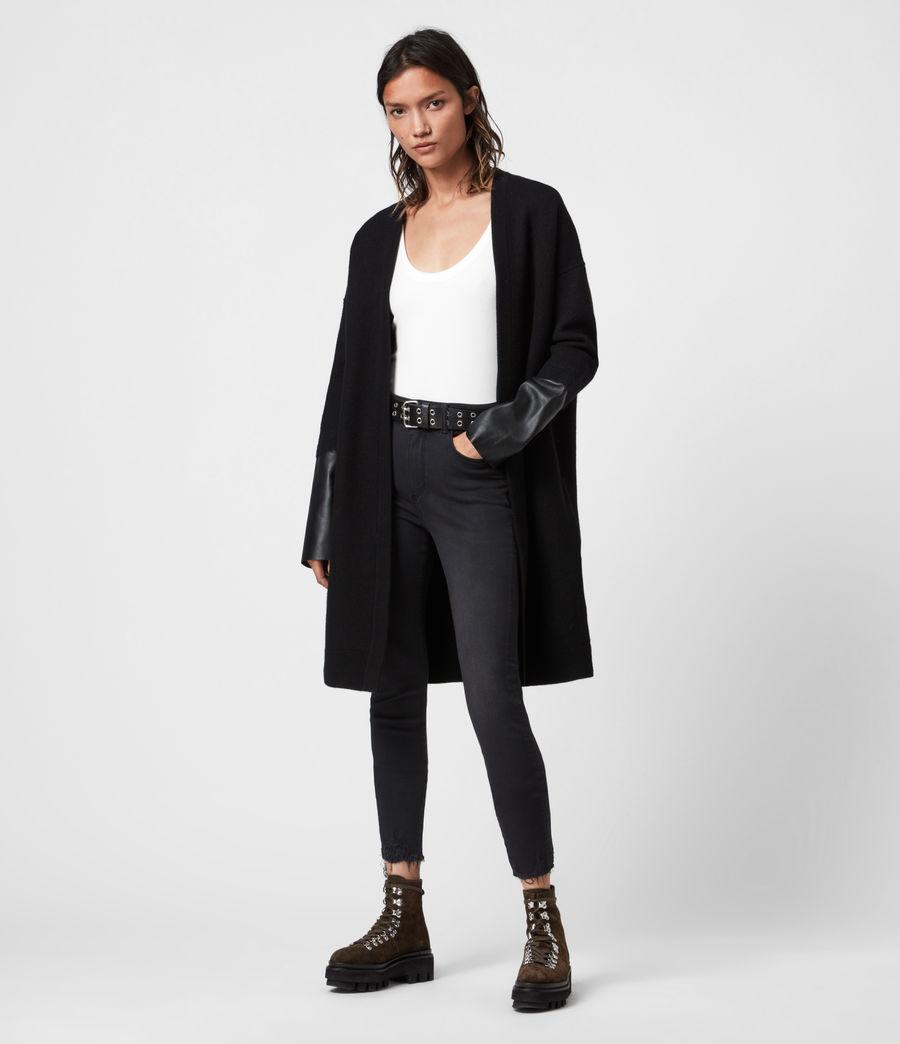 Womens Essy Merino Wool Cardigan (black) - Image 4