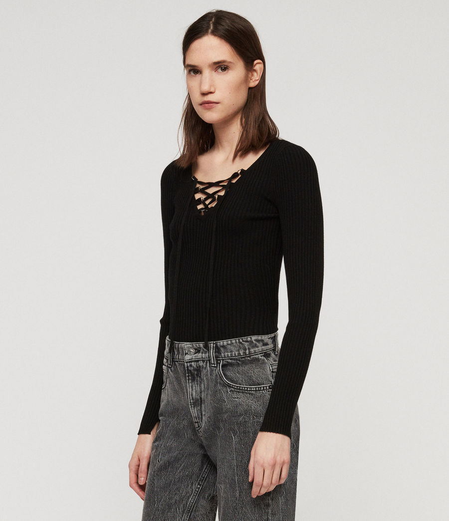 Womens Tamsin Sweater (black) - Image 3