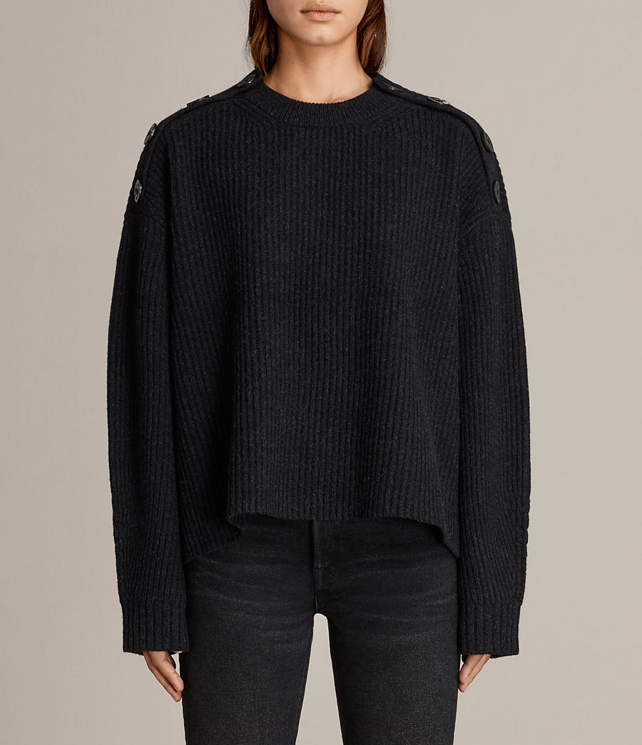 Womens Faye Crew Neck Sweater (cinder_black_marl) - Image 1