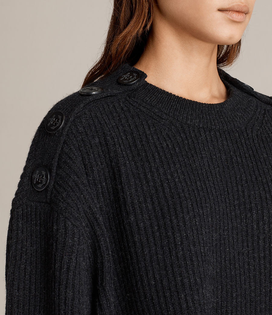 Womens Faye Crew Neck Sweater (cinder_black_marl) - Image 2