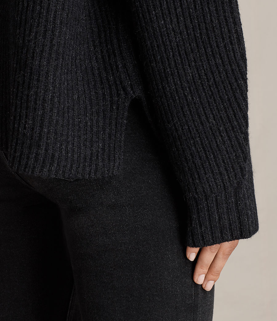 Womens Faye Crew Neck Sweater (cinder_black_marl) - Image 4