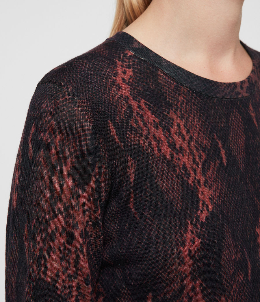 Womens Suki Crew Neck Sweater (burgundy_red_snake) - Image 2
