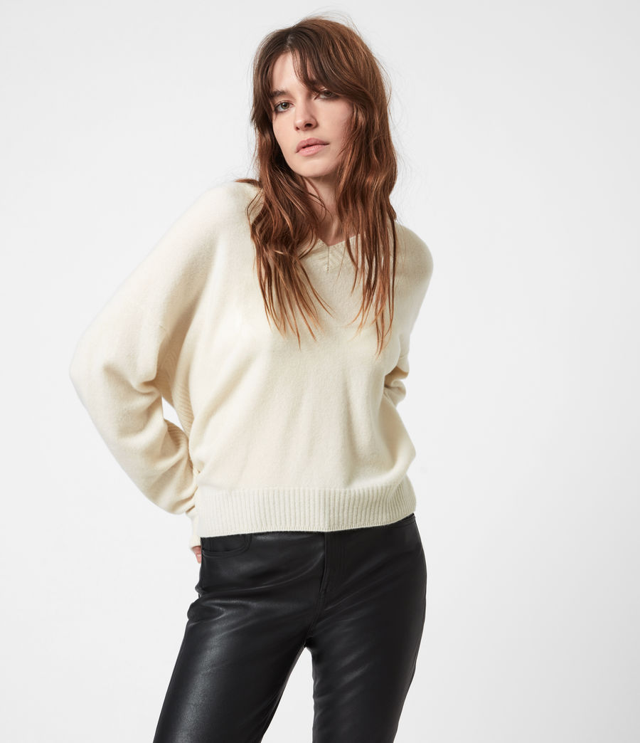 Womens Ivana Cashmere-Wool Blend V-Neck Sweater (ivory_white) - Image 1
