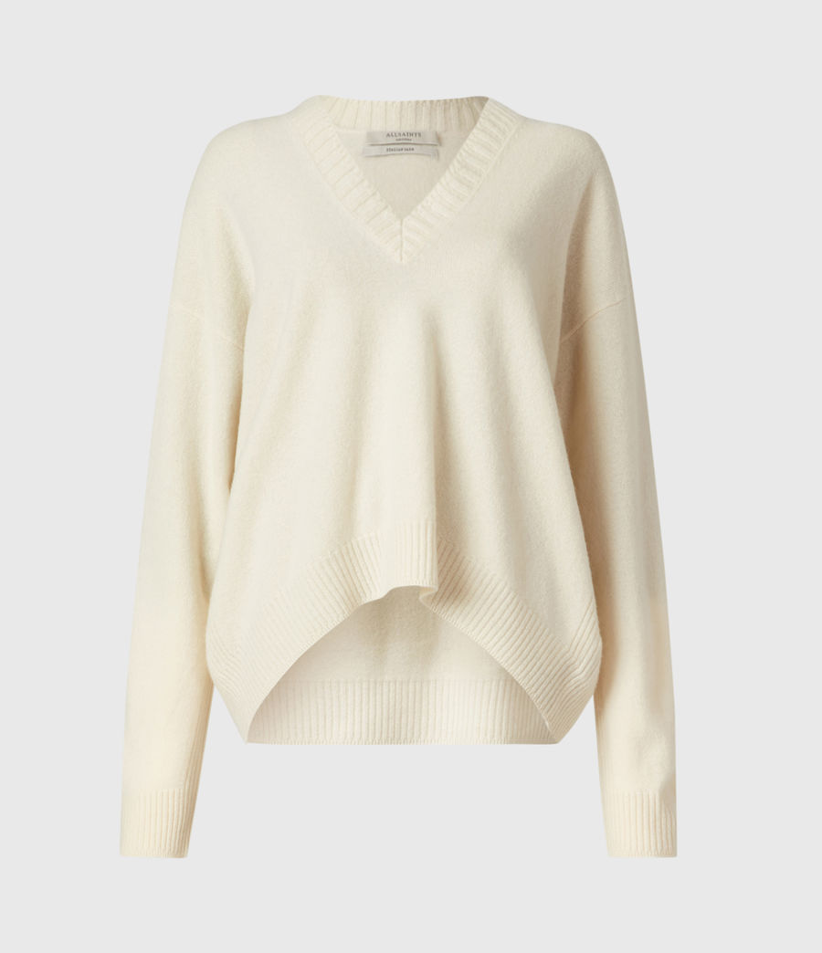 Womens Ivana Cashmere-Wool Blend V-Neck Sweater (ivory_white) - Image 2