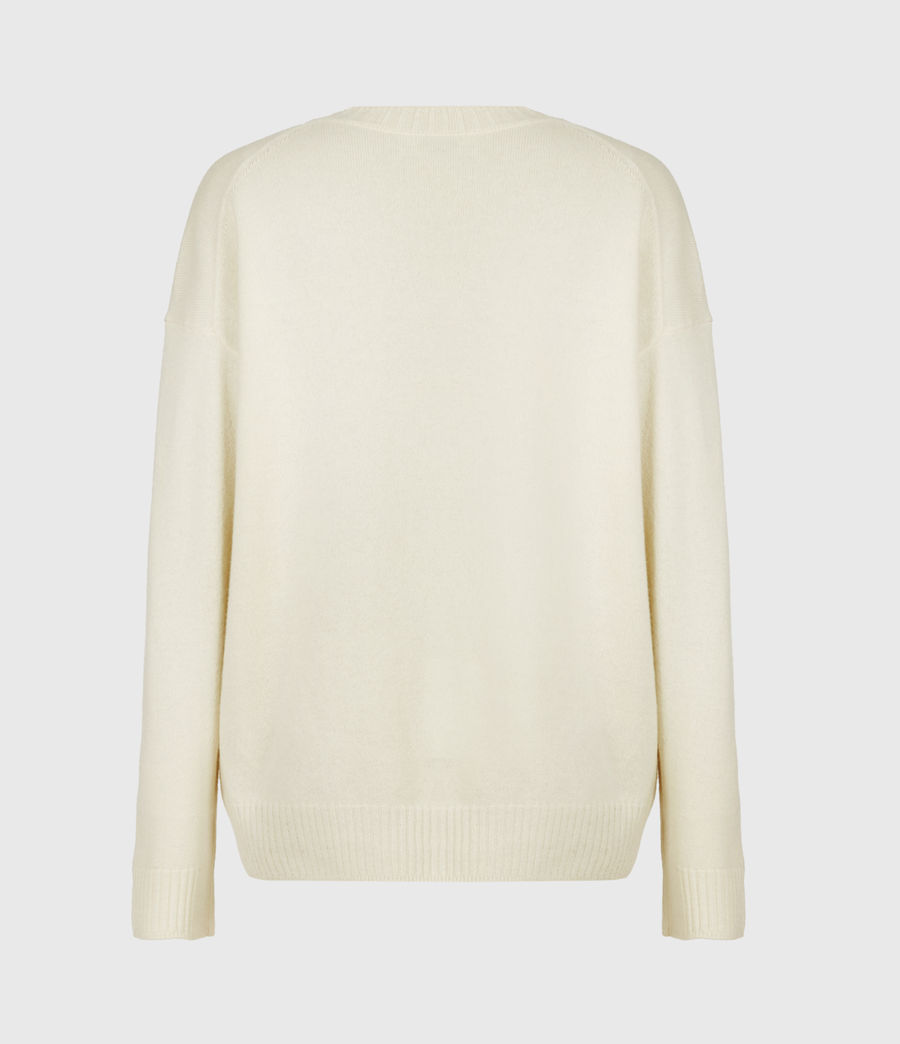 Womens Ivana Cashmere-Wool Blend V-Neck Sweater (ivory_white) - Image 3