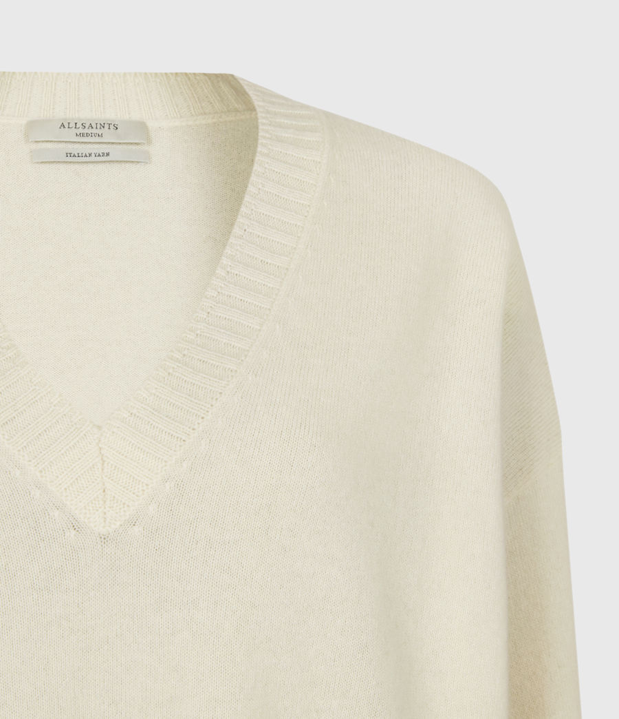 Womens Ivana Cashmere-Wool Blend V-Neck Sweater (ivory_white) - Image 5