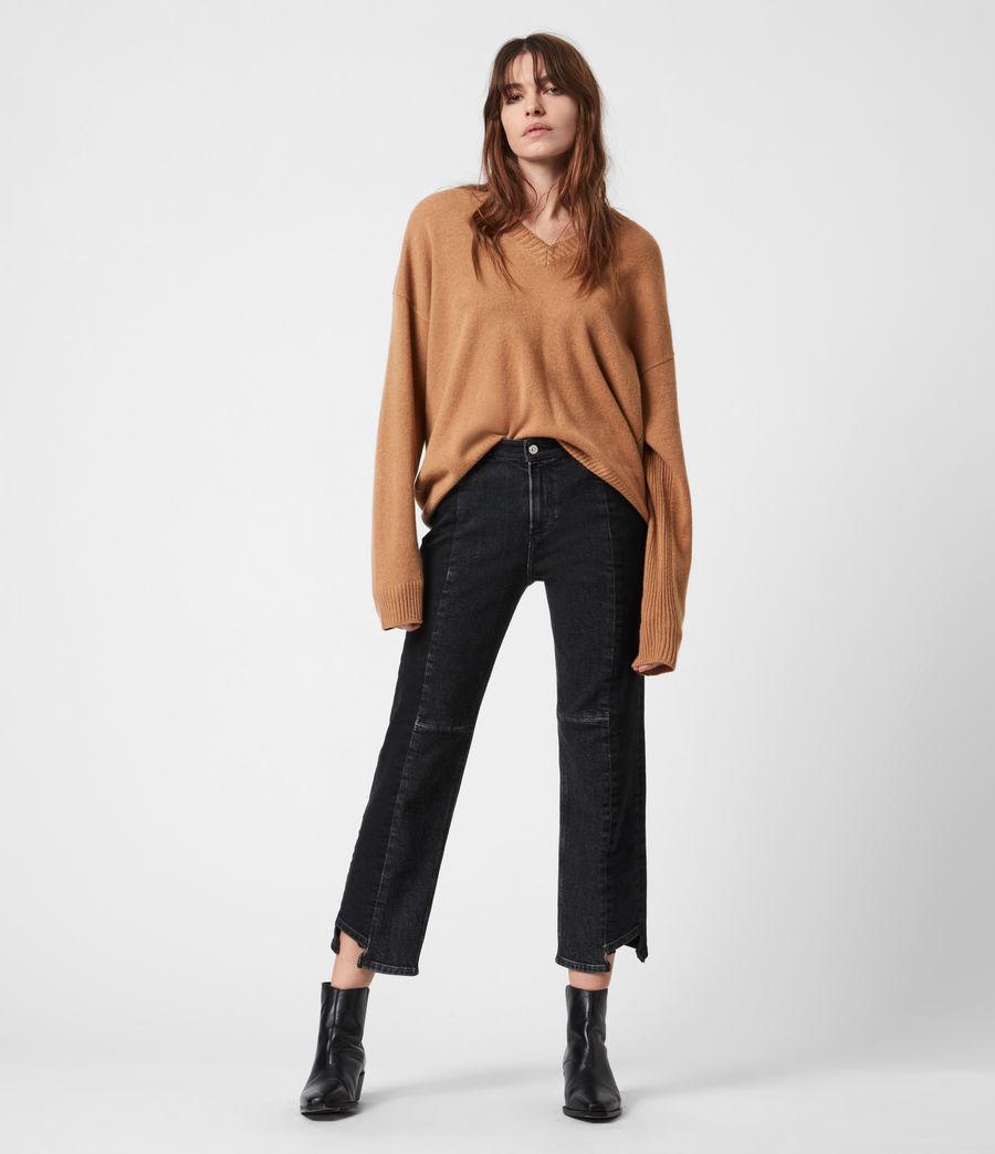 Women's Ivana Cashmere-Wool Blend V-Neck Jumper (tan_brown) - Image 1