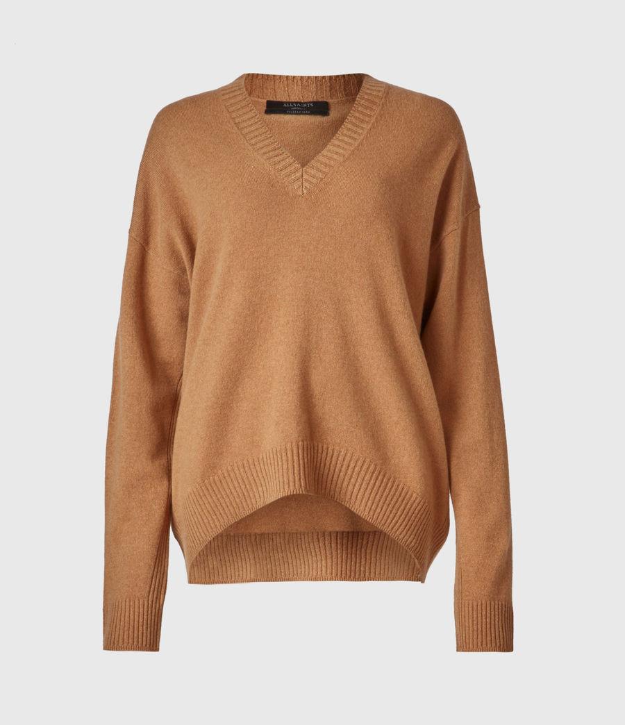 Women's Ivana Cashmere-Wool Blend V-Neck Jumper (tan_brown) - Image 2