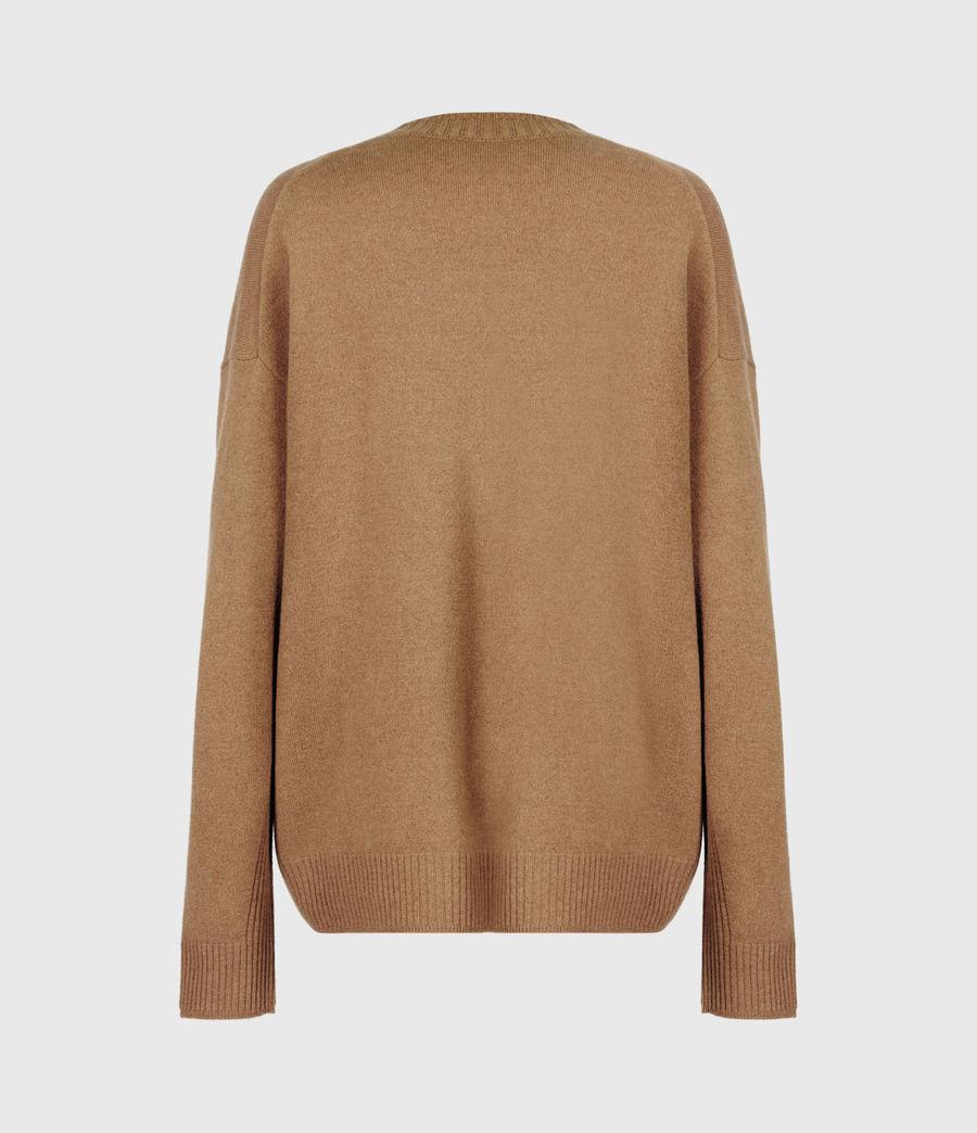 Women's Ivana Cashmere-Wool Blend V-Neck Jumper (tan_brown) - Image 3