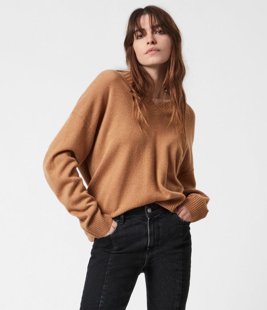Women's Ivana Cashmere-Wool Blend V-Neck Jumper (tan_brown) - Image 4