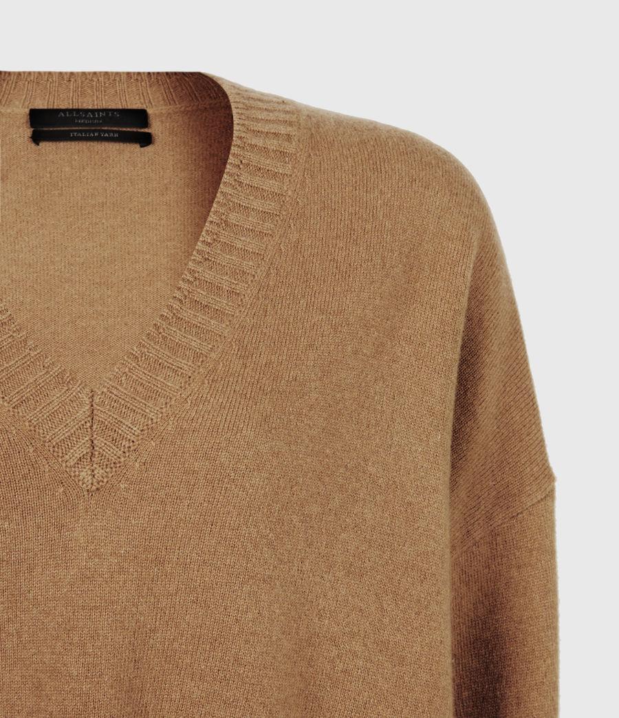 Women's Ivana Cashmere-Wool Blend V-Neck Jumper (tan_brown) - Image 5