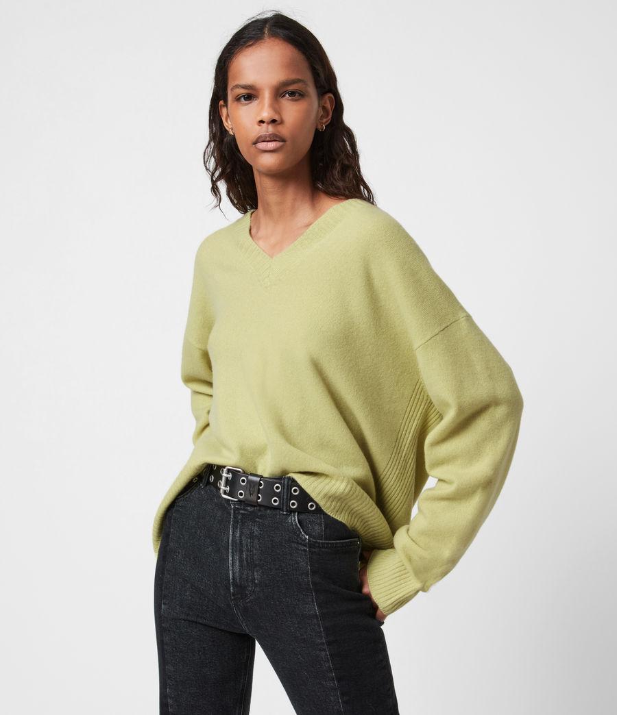Womens Ivana Cashmere-Wool Blend V-Neck Sweater (citron_tea) - Image 1