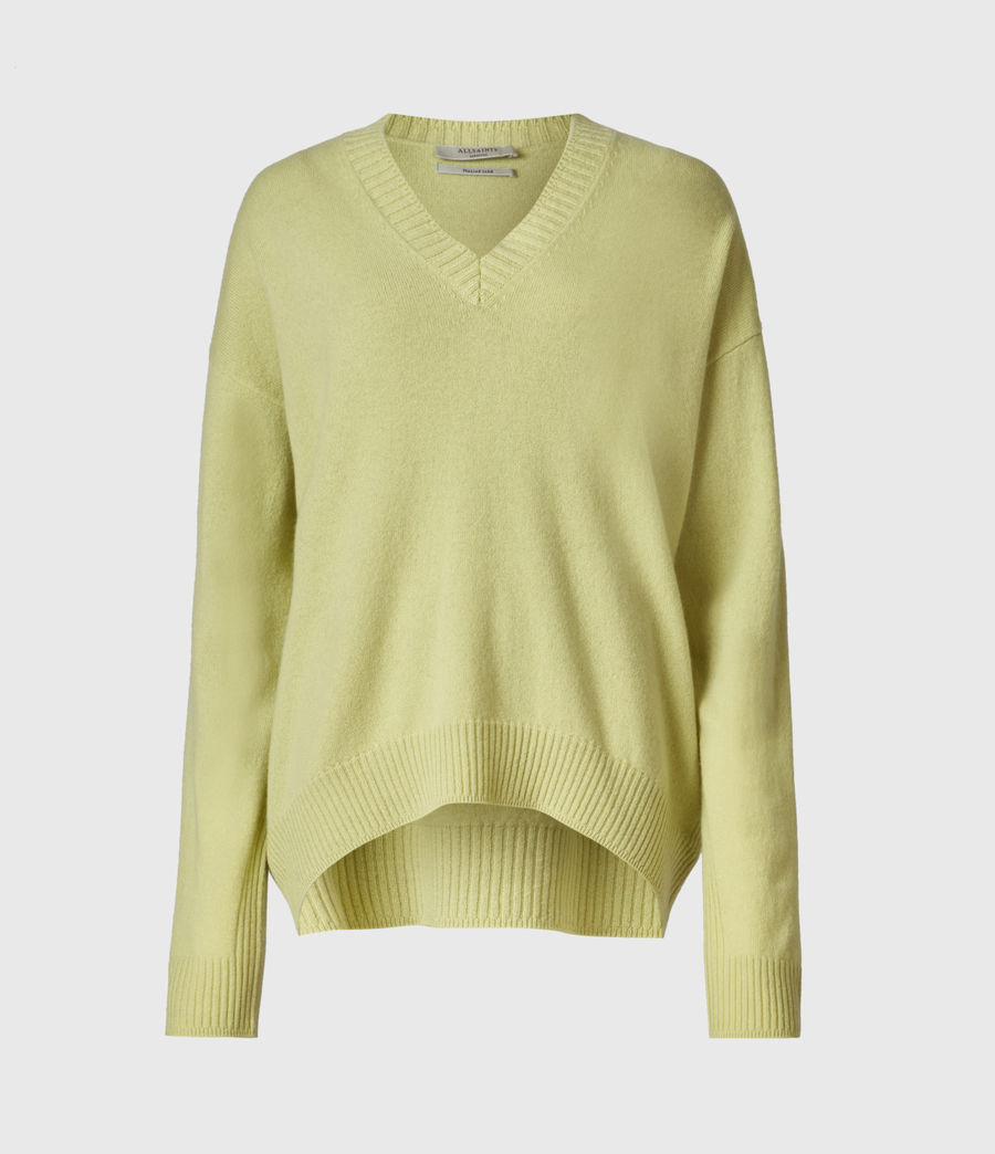 Womens Ivana Cashmere-Wool Blend V-Neck Sweater (citron_tea) - Image 2