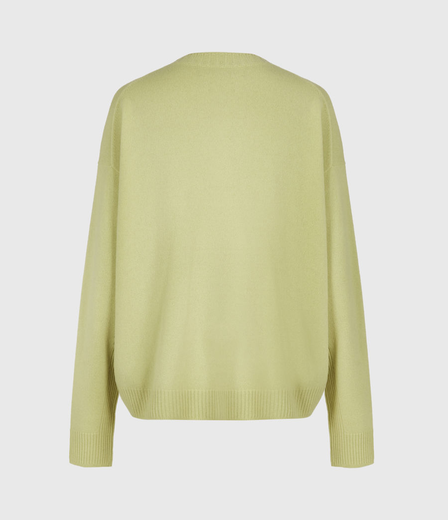 Womens Ivana Cashmere-Wool Blend V-Neck Sweater (citron_tea) - Image 3
