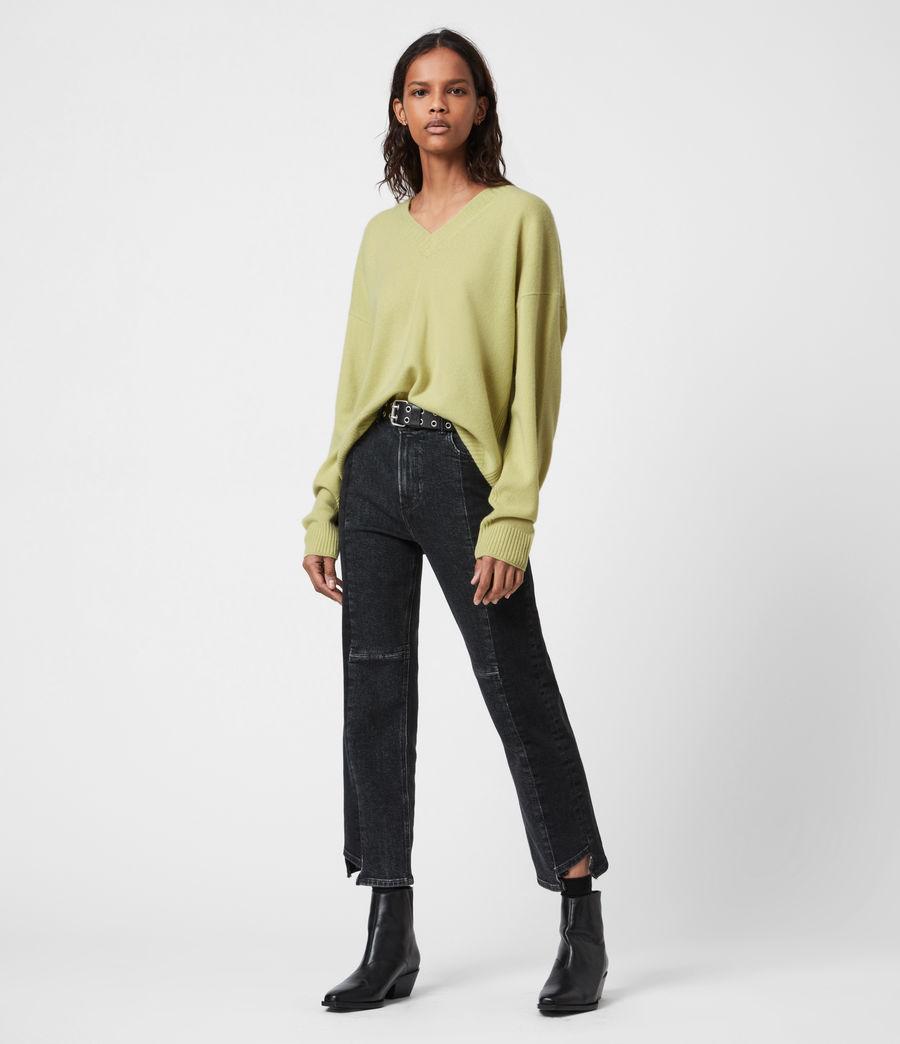 Womens Ivana Cashmere-Wool Blend V-Neck Sweater (citron_tea) - Image 4