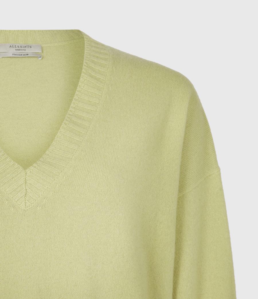 Womens Ivana Cashmere-Wool Blend V-Neck Sweater (citron_tea) - Image 5