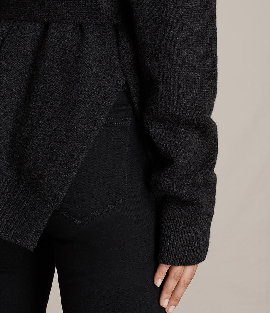 Women's Inaya Cashmere Cardigan (cinder_black_marl) - Image 2