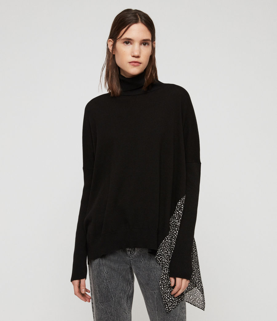 Womens Alda Splash Roll Neck Sweater (black) - Image 1