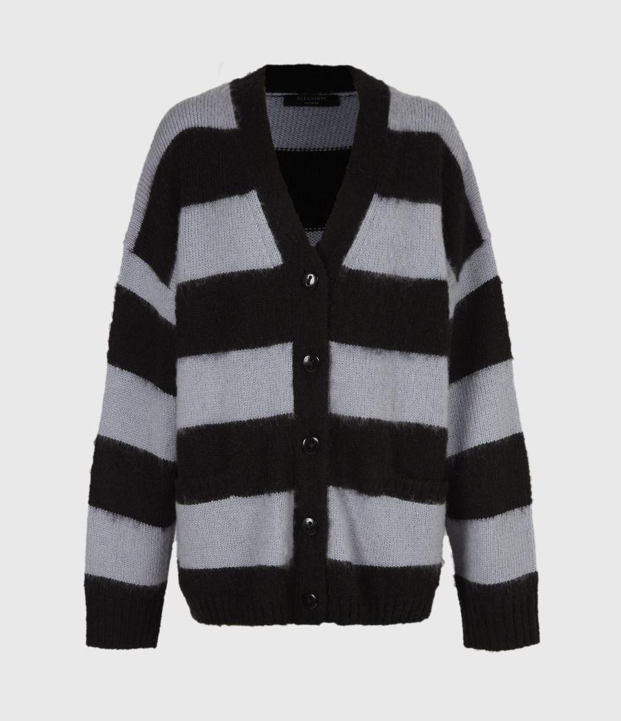Womens Lou Striped Cardigan (black_celest_blue) - Image 2