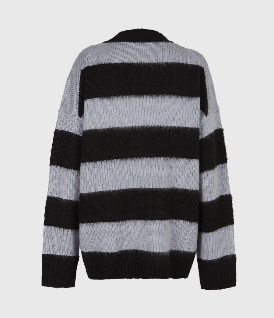 Womens Lou Striped Cardigan (black_celest_blue) - Image 3
