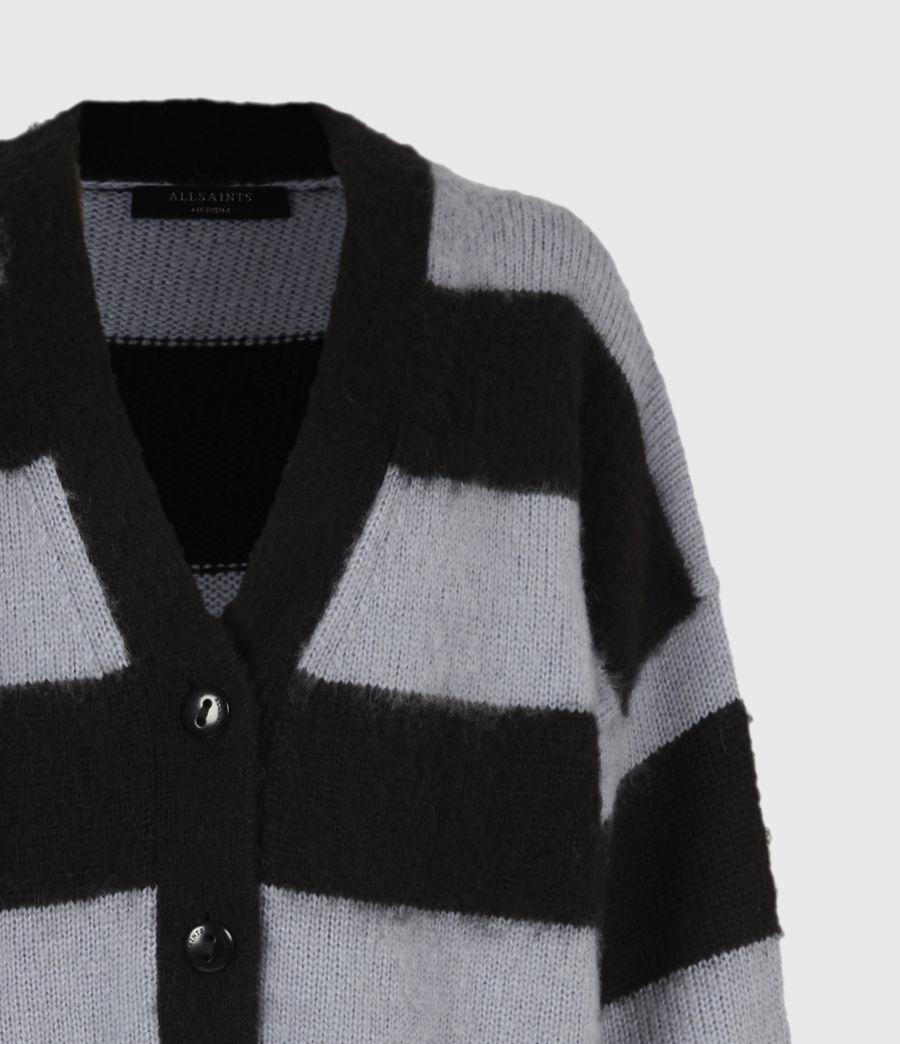 Womens Lou Striped Cardigan (black_celest_blue) - Image 5