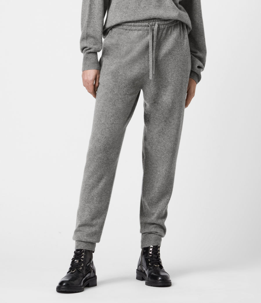 Women's Olly Cashmere Blend Slim Cuffed Joggers (grey_marl) - Image 4