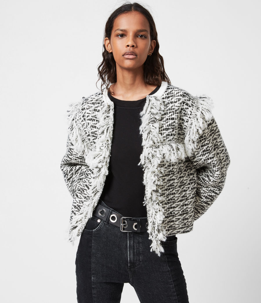 Damen Ashley Franzen Jacke (black_chalk_white) - Image 1