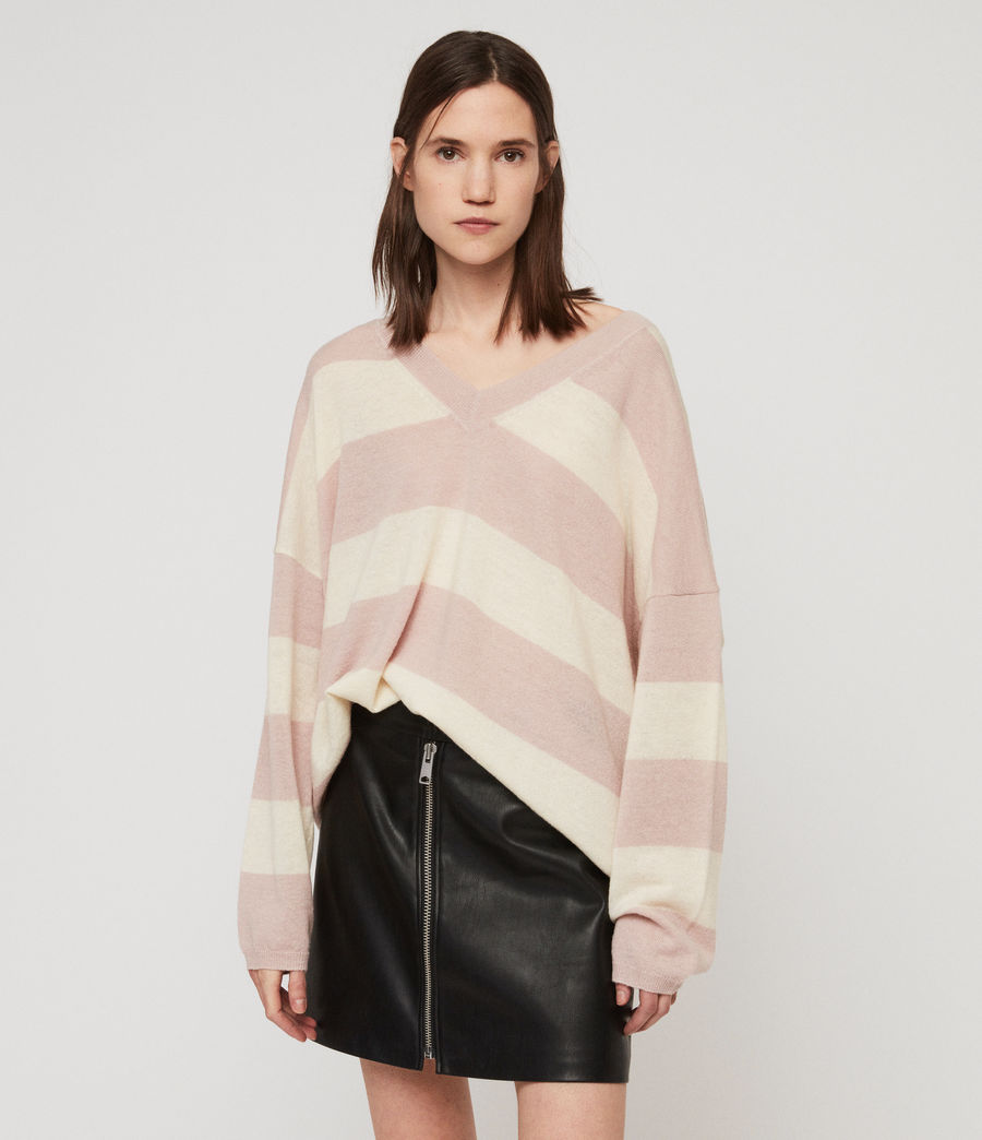 Womens Byers Stripe V-Neck Sweater (pink_pale_yellow) - Image 1