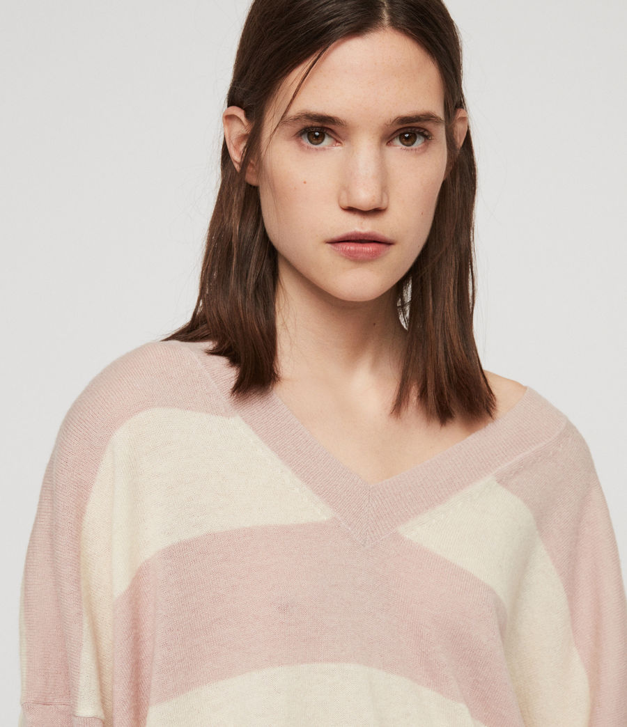 Womens Byers Stripe V-Neck Sweater (pink_pale_yellow) - Image 2