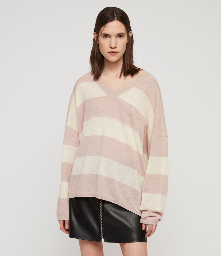 Womens Byers Stripe V-Neck Sweater (pink_pale_yellow) - Image 4