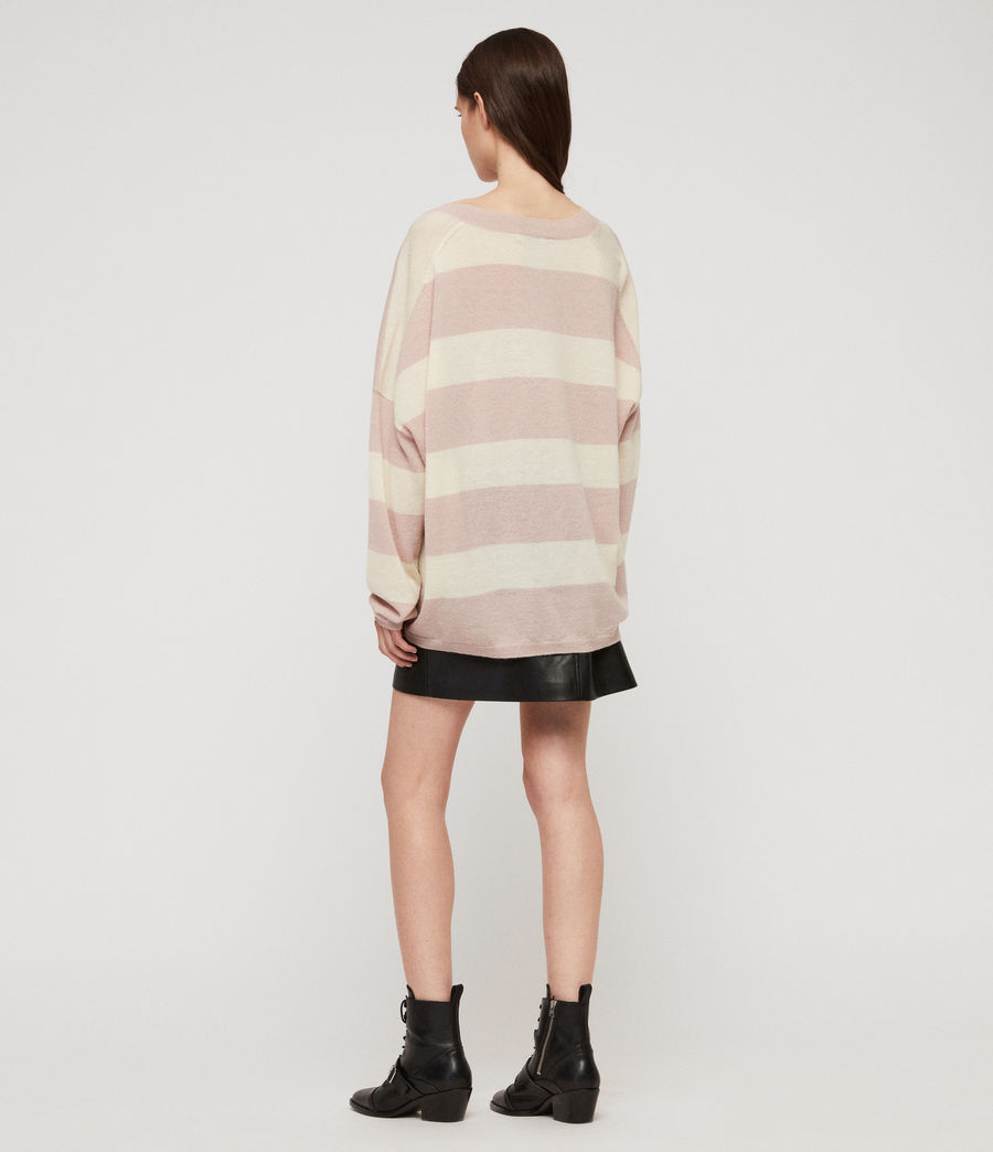 Womens Byers Stripe V-Neck Sweater (pink_pale_yellow) - Image 5