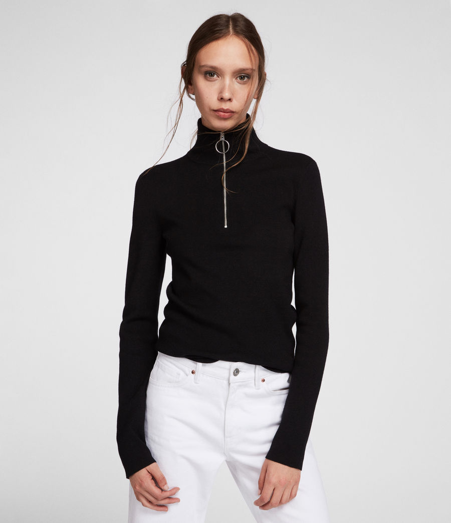 Womens Lacey Sweater (black) - Image 1