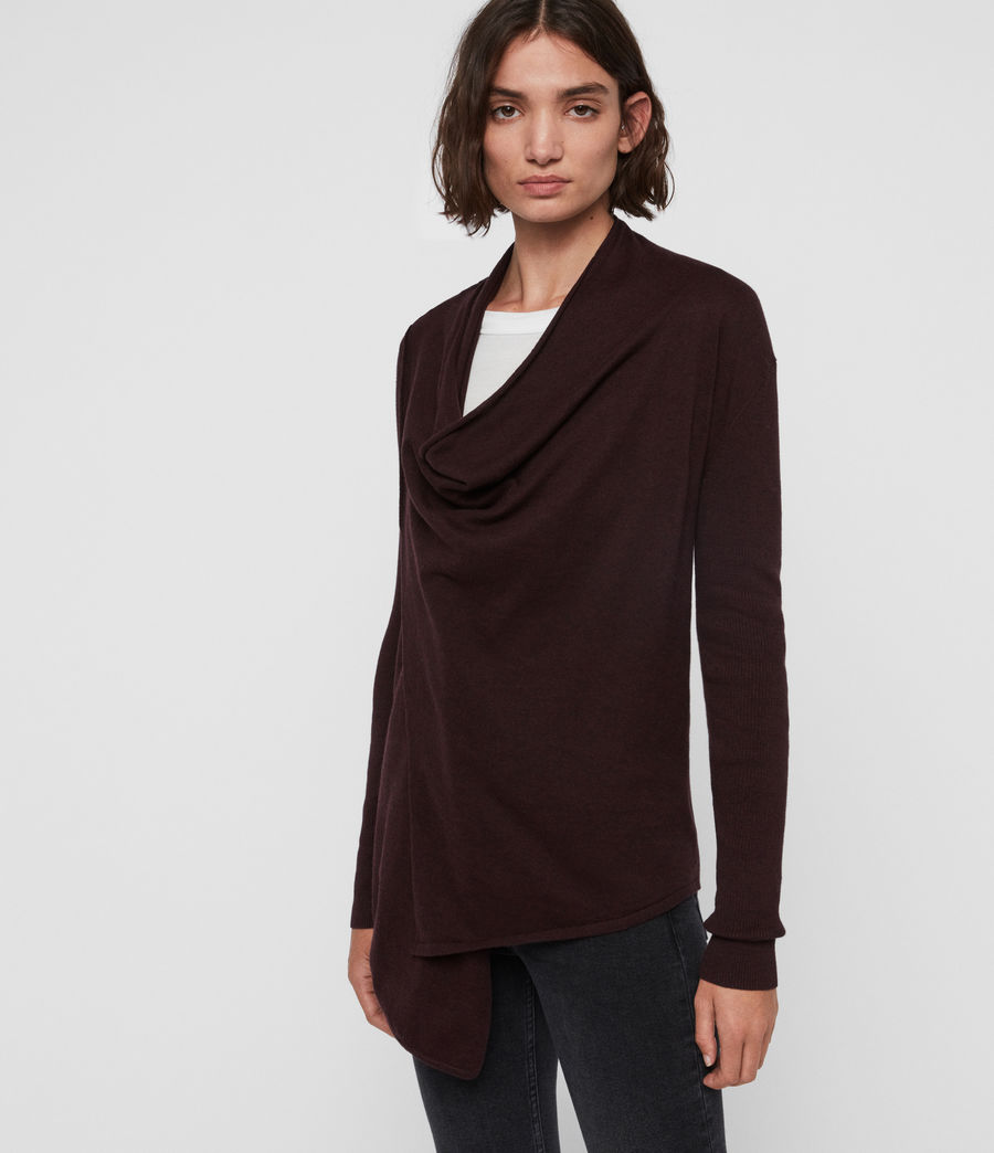Womens Drina Rib Back Cardigan (burgundy_red_marl) - Image 3