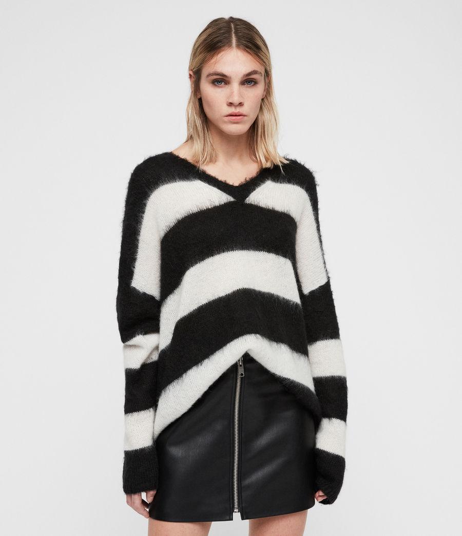 Mujer Jersey en V Byers (black_cream) - Image 1